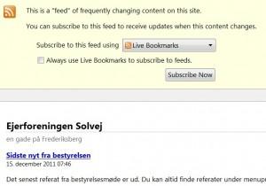 Hvordan abonnementssiden ser ud for en RSS feed